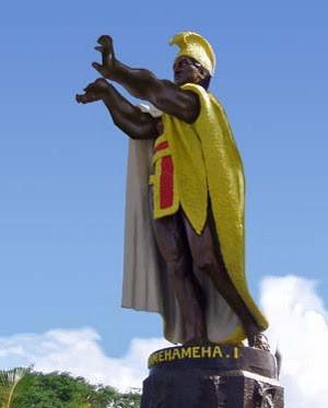 El rey Kamehameha I haciendo un kamehameha (cortesía de xonomech e inciclopedia.org