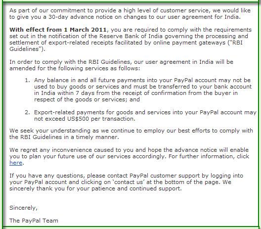 Aturan Paypal Negara India