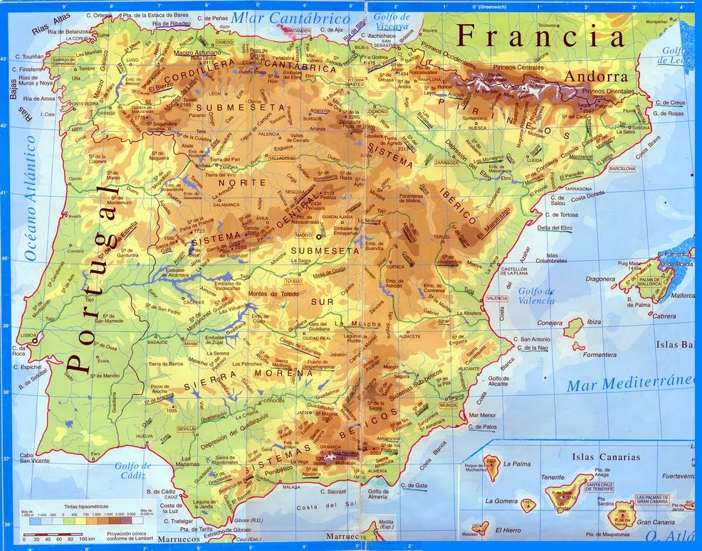 Mapa De España Físico.Geografia E Historia Ies Vega Del Tader Mapa Fisico De