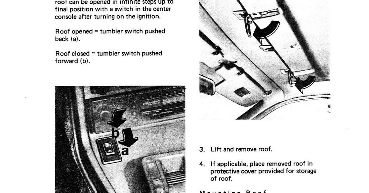 Service Manual 1988 Porsche 944 Sunroof Switch Repair