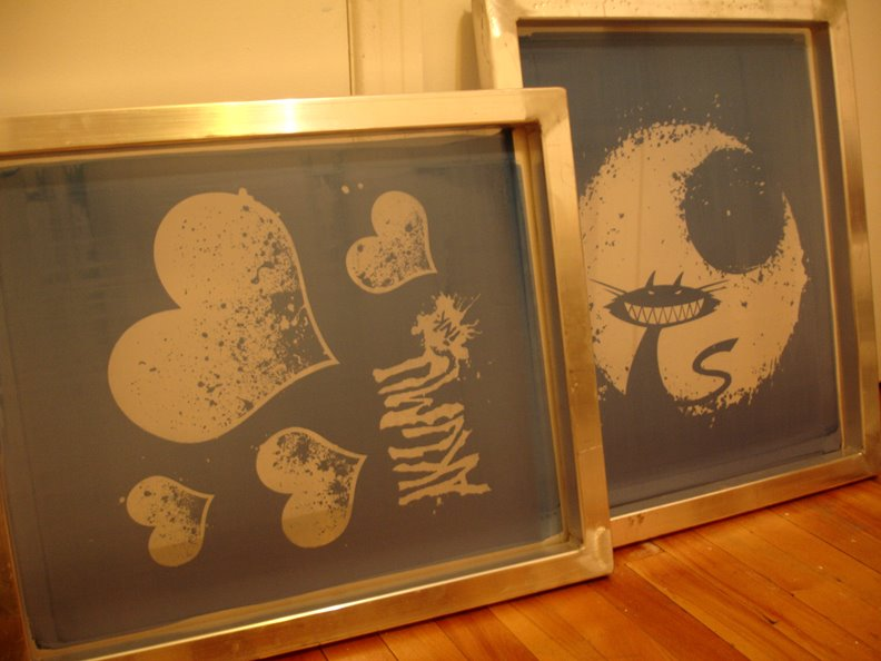 cheshire cat hearts silkscreen prints