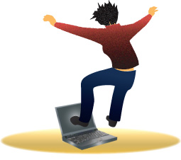 image of angry person jumping on a laptop computer