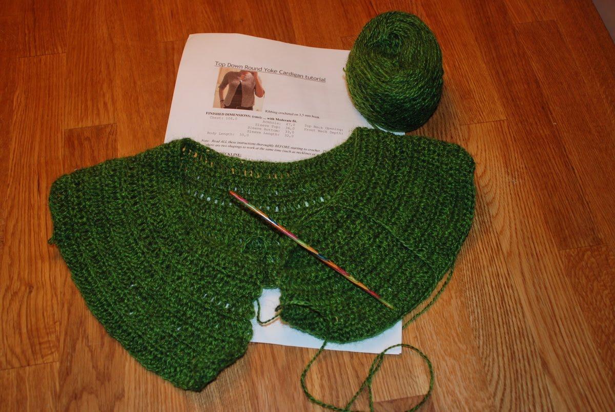 8805c889c my knit sensations  Top Down Round Yoke Cardigan started