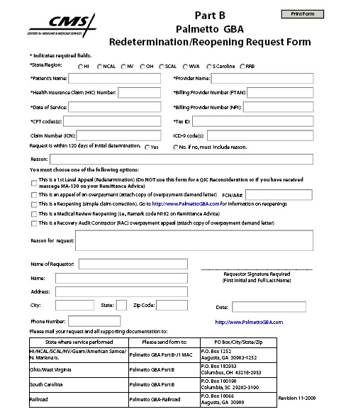 Example Medicare redetermination form Medicare Fee, Payment