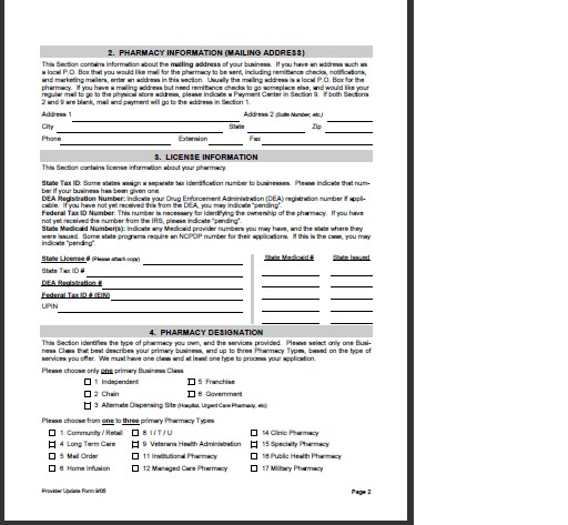 NCPDP PROVIDER ID AND NPI APPLICATION form Medicare Fee, Payment - medicare application form