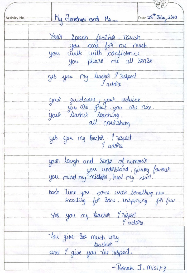 Teacher And Student Poems By Class 8 Students Atmiya