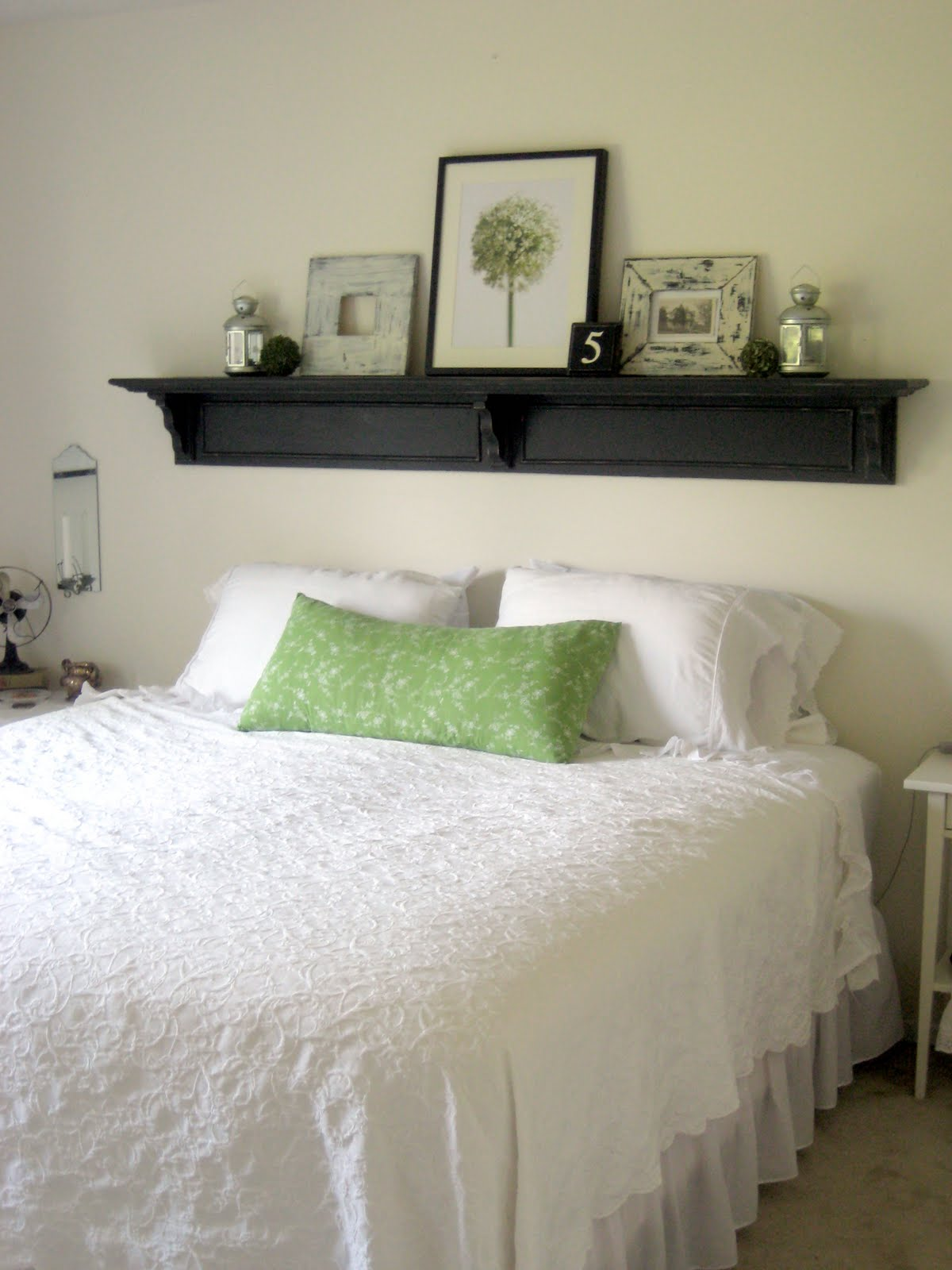 Happy at home headboard shelf reveal - What to use instead of a headboard ...