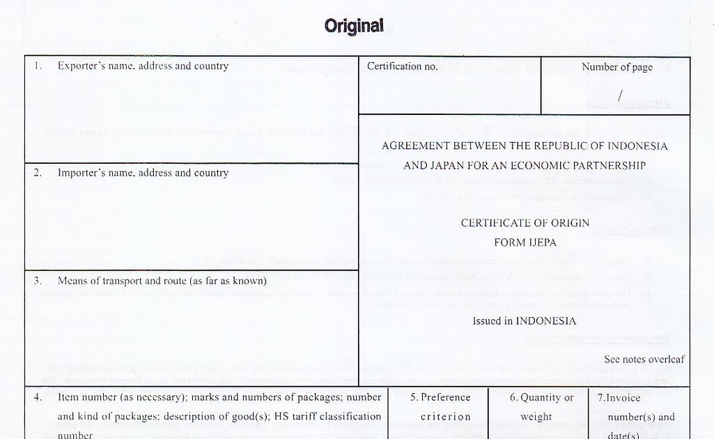 Certificate Of Origin Certificate Of Origin Form Ijepa