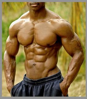 ripped black bodybuilder flexing