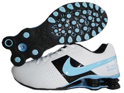 online store attractive price super quality nike chaussures: Bon Marche Nike Shox,Homme Oz Blanc haut Bleu Crochet
