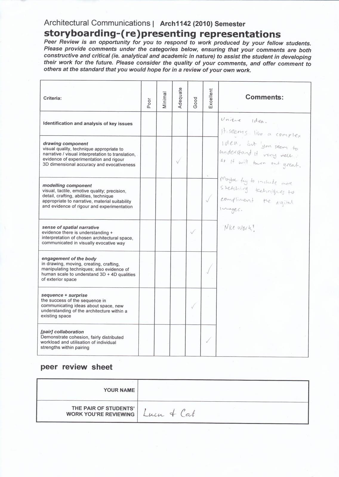 Luen Samonte Arch Week 2 Storyboard And Progress Feedback Sheet