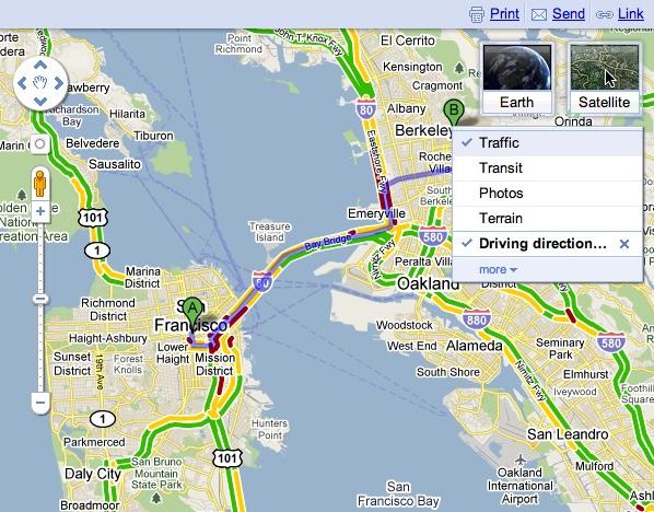 Affichage d'informations sur le trafic en temps réel dans Google Maps.