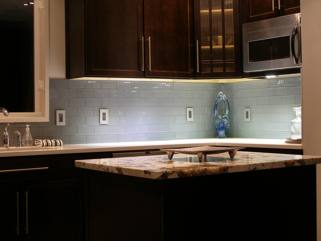 kitchen backsplash glass tiles counter bar stools colored subway