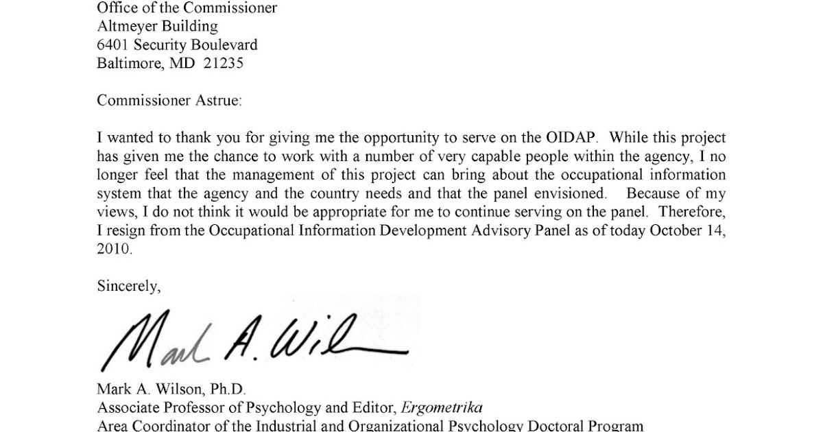 resignation letter format for system administrator social security news resignation from oidap 25849 | Wilson Resignation Letter 1