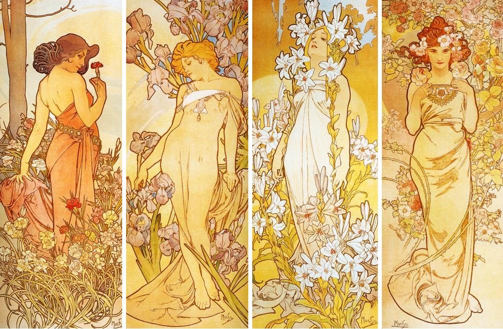 VINTAGE BLOG: Alfons Mucha - The 4 Flowers (Carnation ...