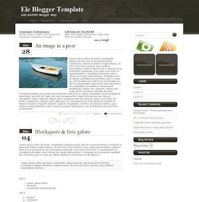 Ele blogger template