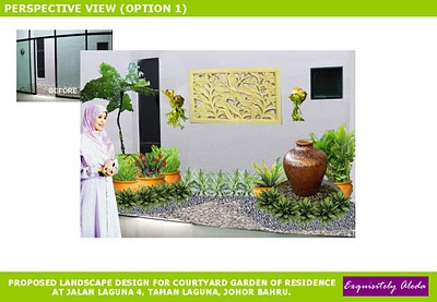 artist's impression of a courtyard garden with Balinese touch