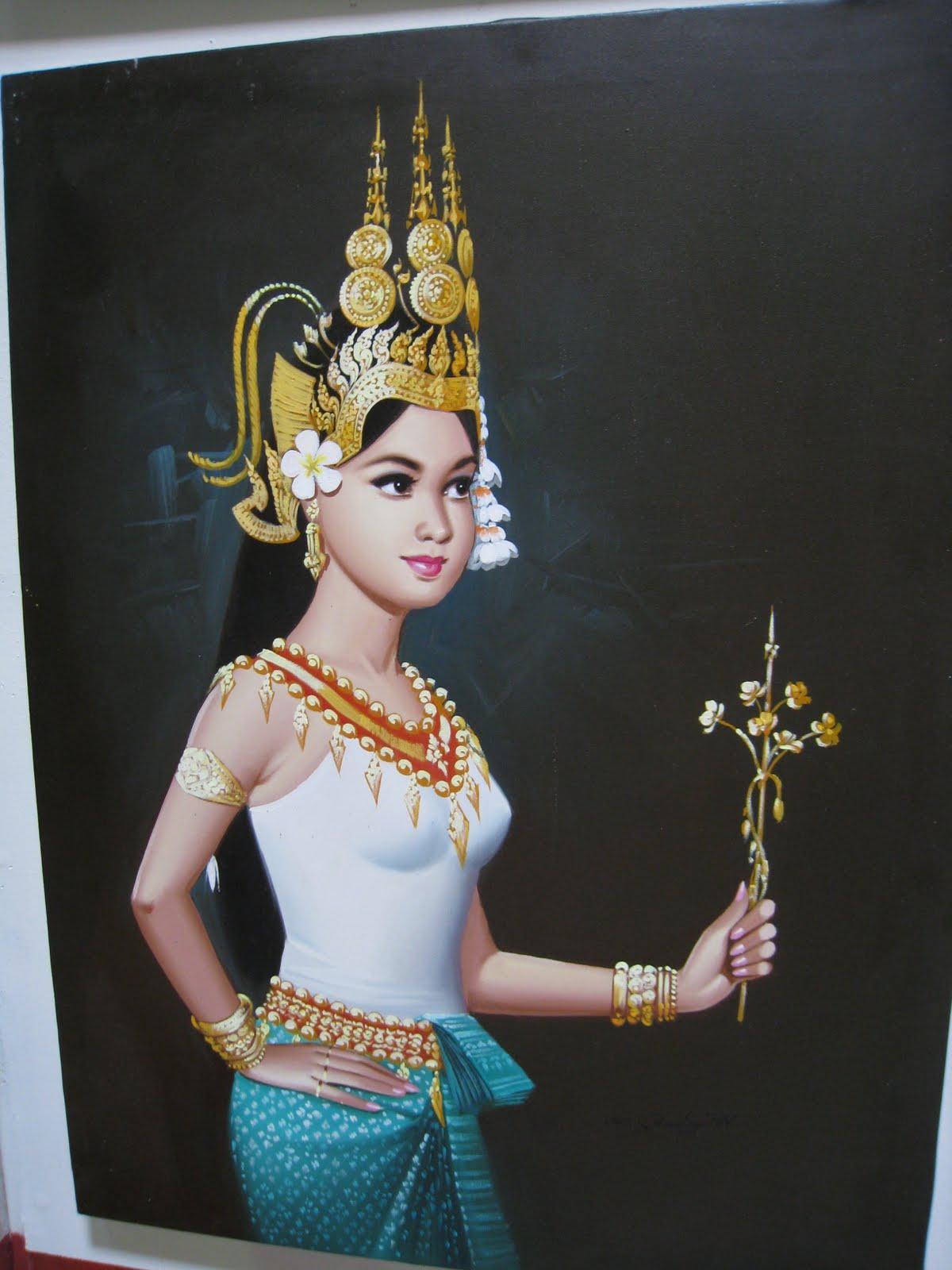 asian art paintings  original oil painting of apsara dancer