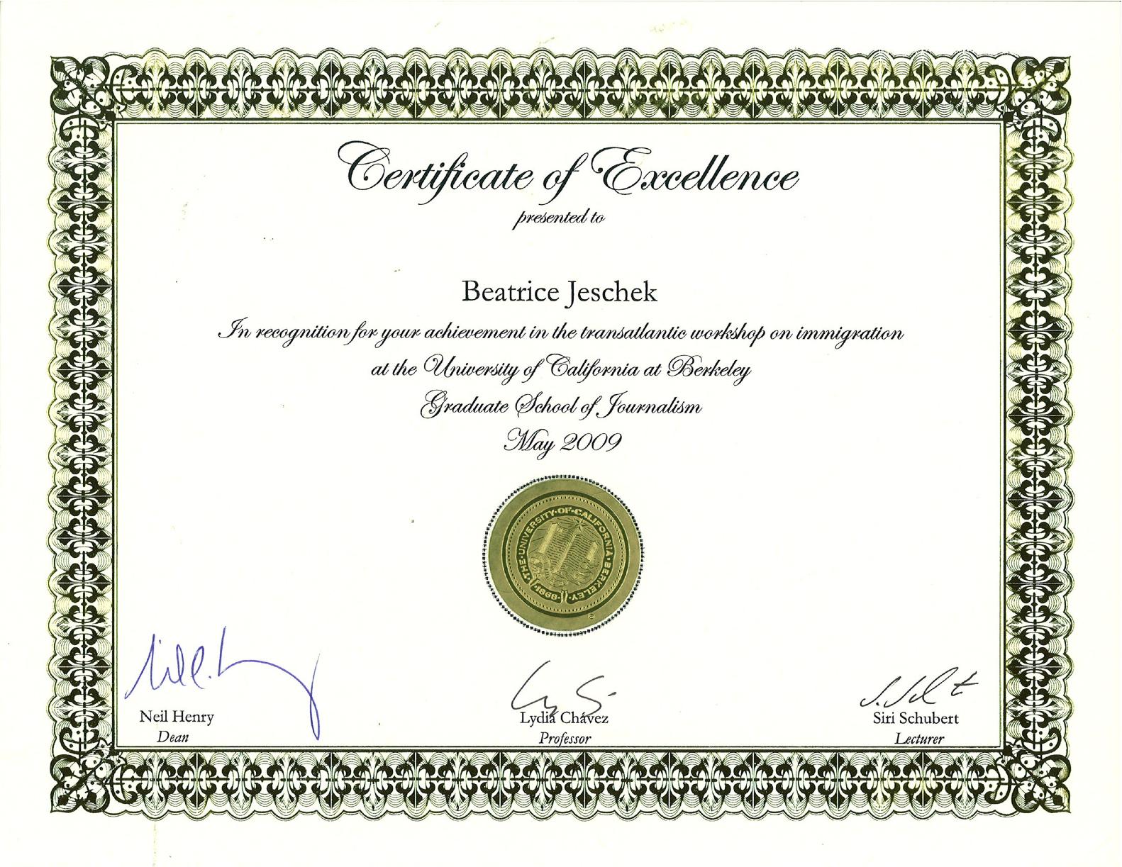 Beatrice Barnwell (Jeschek): Berkeley Certificate of Excellence