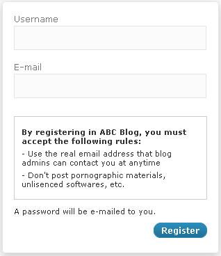 Display Blog Rules Register Page WordPress