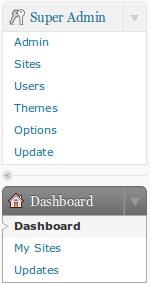 Super Admin menu MultiSite WordPress 3.0