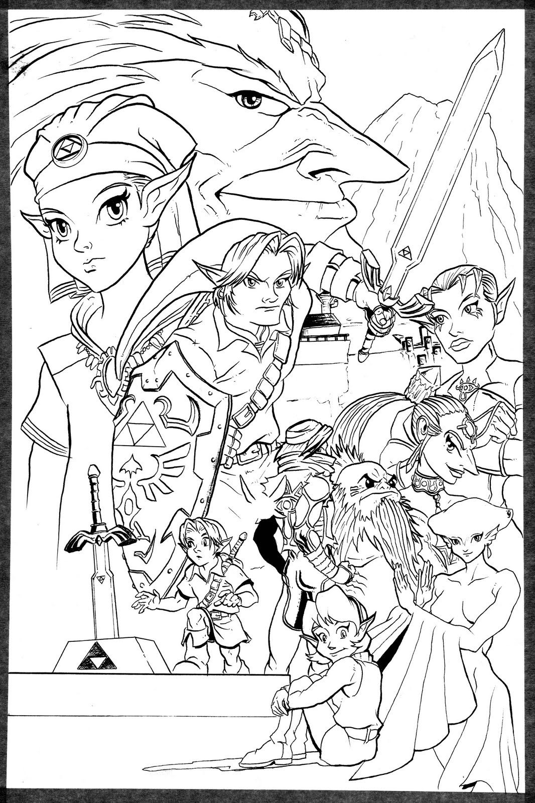 Zelda From Ocarena Of Time - Free Colouring Pages