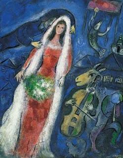 Marc Chagall, La Marrié, 1950. Gouache pastel.