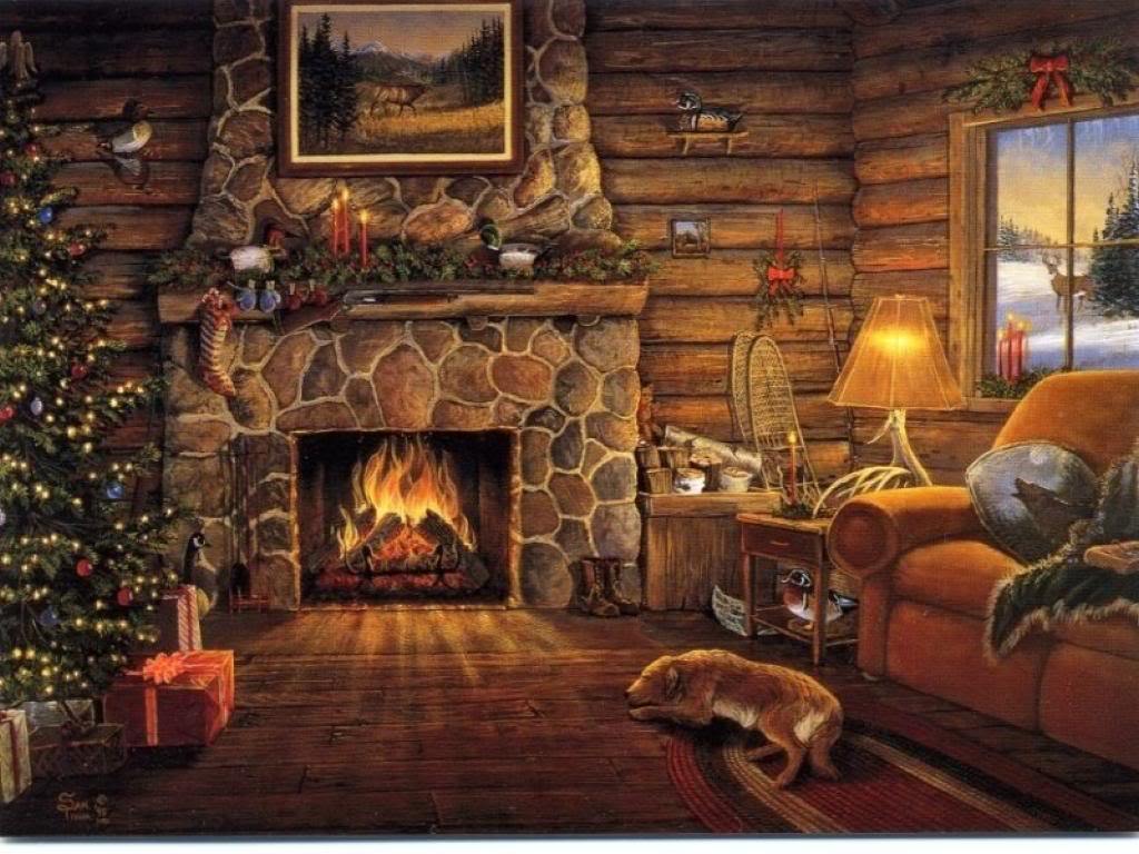 Christmas Cabin Fireplace Scenes