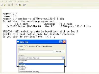 Restore IOS cho Cisco Router bằng Xmodem - chungdb site