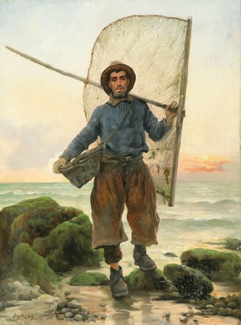 Pescador con aparejos, Juan Martínez Abades, Pintor español, Paisajes de Juan  Martínez Abades, Pintor Martínez Abades, Pintores españoles, Pintores Asturianos, Martínez Abades