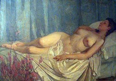 Desnudo de fondo azul, Anselmo Miguel Nieto, Pintura Española, Pintores Españoles, Pintor Español, Mujer desnuda, Mujeres desnudas, Obras de Anselmo Miguel Nieto