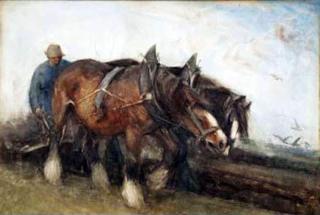 Caballos, Enrique Martínez Cubells, Pintor español, Pintores españoles, Martínez Cubells, Paisajes de Enrique Martínez Cubells, Pintores Valencianos