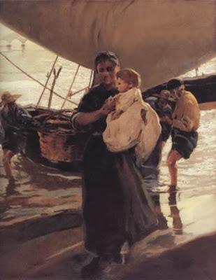 Pescadora con su hijo, Enrique Martínez Cubells, Pintor español, Pintores españoles, Martínez Cubells, Paisajes de Enrique Martínez Cubells, Pintores Valencianos