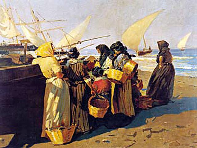 Recogiendo el pescado, Enrique Martínez Cubells, Pintor español, Pintores españoles, Martínez Cubells, Paisajes de Enrique Martínez Cubells, Pintores Valencianos