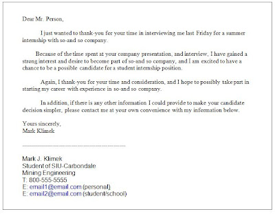 """Family College & Fishing Interview """"Thank You"""" Letter"""