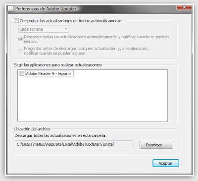 Desactivar Adobe Updater en Windows Vista