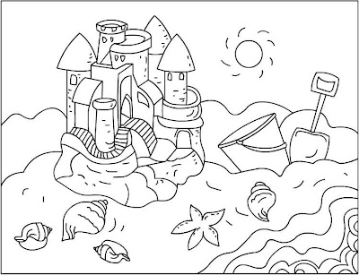 sandcastle printable | Castle coloring page, Beach coloring pages ... | 307x400