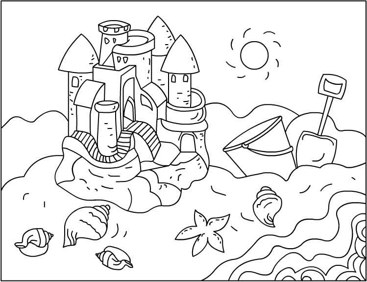 sand castle coloring pages - photo#20