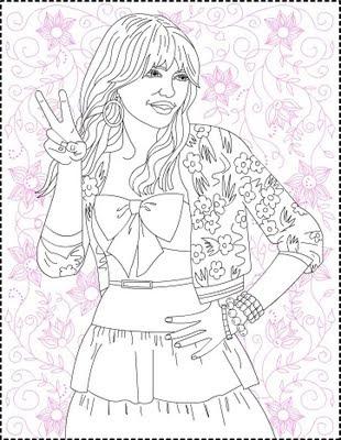 Cartoon Design: Hannah Montana Coloring Pages : Miley Cyrus Happy | 400x310