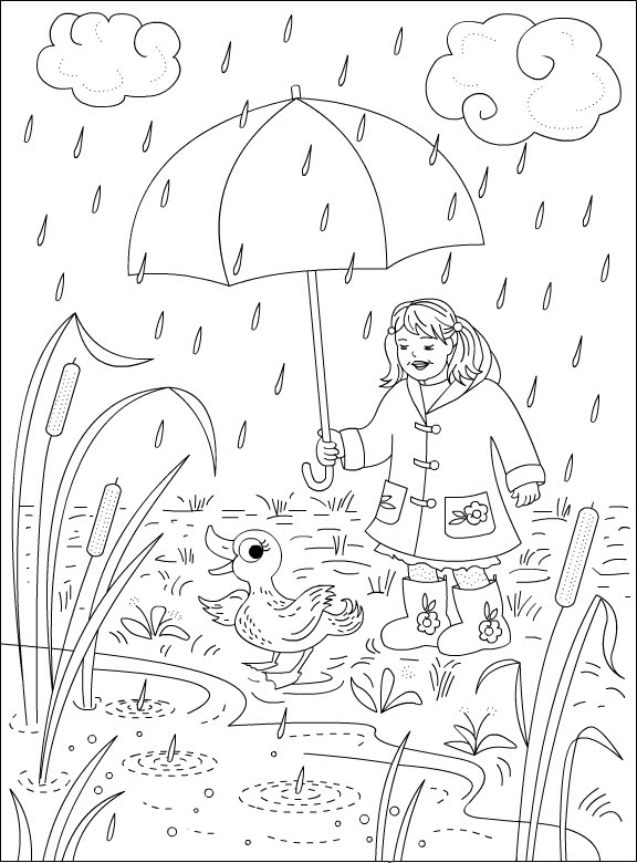 Nicole's Free Coloring Pages: Rainy Day