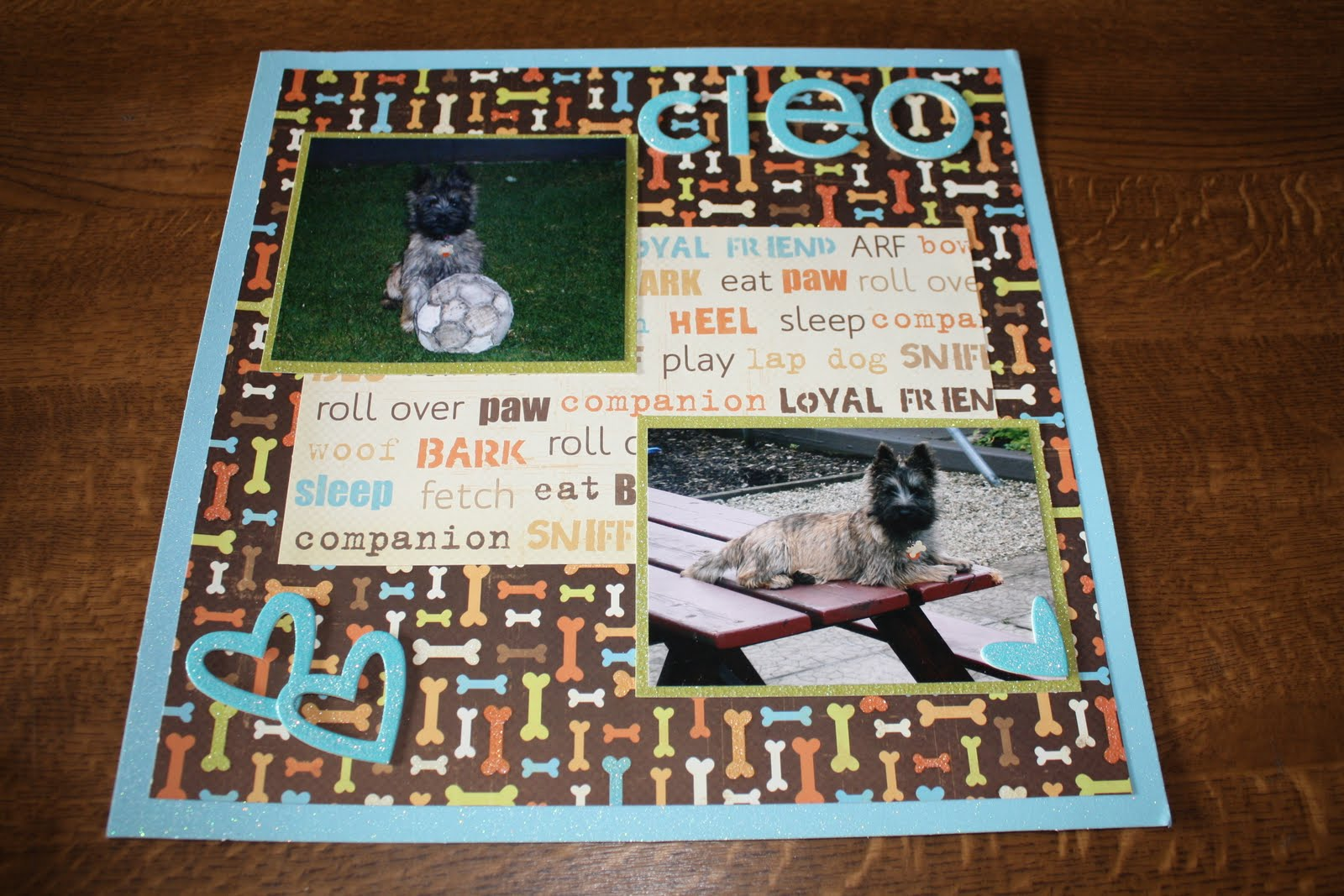 Scrapbook ideas for dogs - Scrapbook Layout Our Dog Cleo