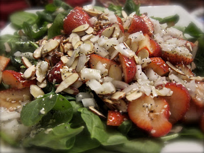 This Strawberry Spinach Salad looks elegant and gormet, and yet is incredibly easy to make. Pour my homemade poppy seed dressing over to make it extra good.  #WomenLivingWell #strawberry #poppyseed #salad