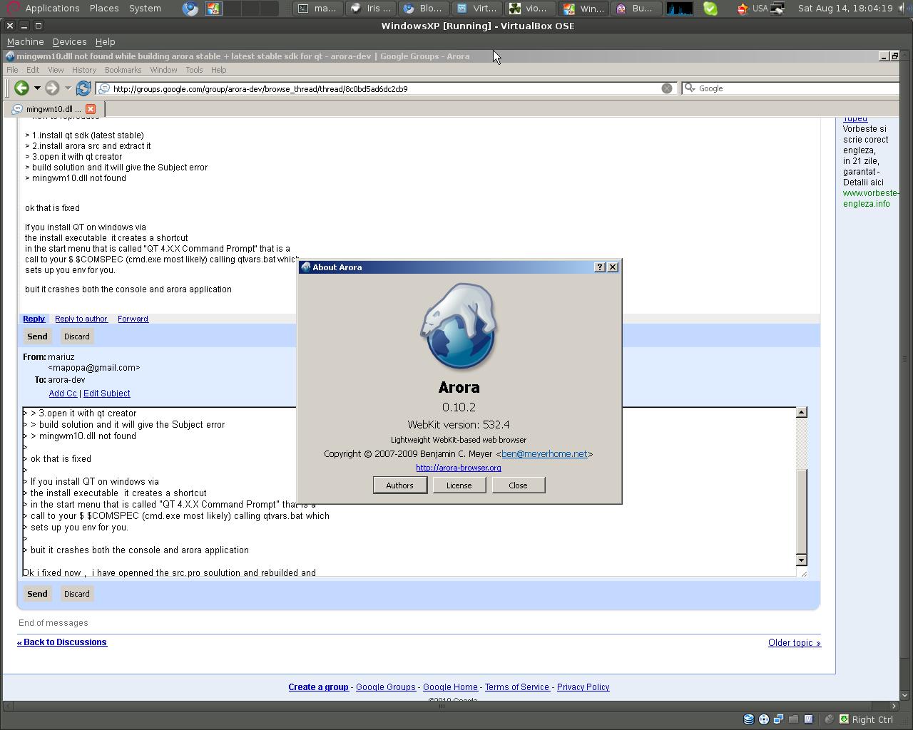 Mariuz's Blog: building #arora-browser stable + latest stable sdk