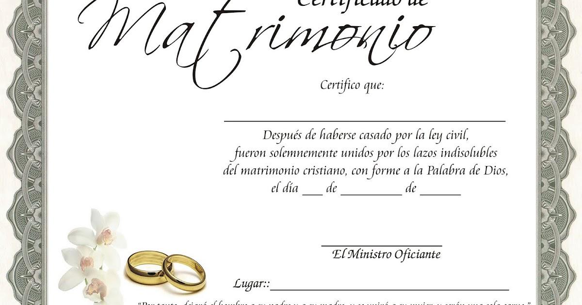 Acta De Matrimonio Catolico : Certificados votos de matrimonio