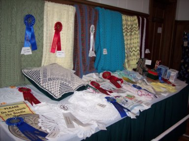 crochet in the Grange building at The Big E