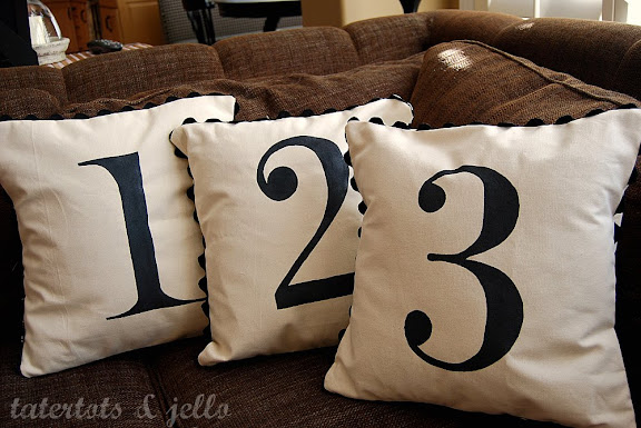 Throw Pillows With Numbers On Them : Pottery Barn - inspired Number Pillows & a Giveaway!! -- Tatertots and Jello