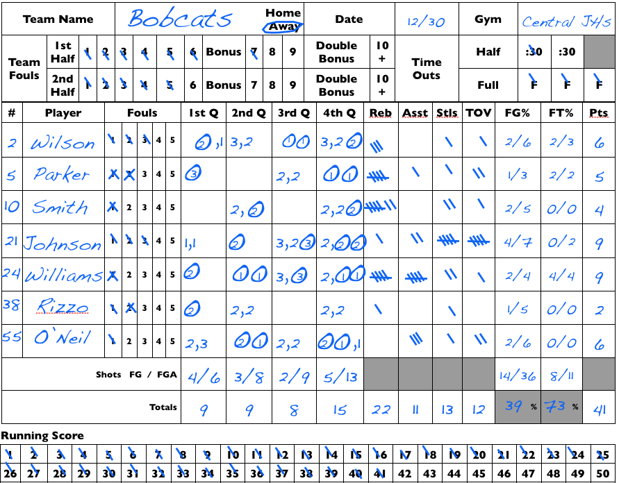 Youth Volleyball Player Stat Sheets