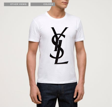 emm pronounced edoublem yves saint laurent logo t shirt. Black Bedroom Furniture Sets. Home Design Ideas