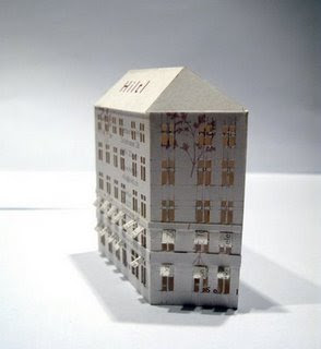 Tiny Buildings Made From Business Cards (3) 1