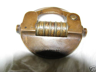 Antique Brass Combination Padlock With 5-Tumbler Wheels
